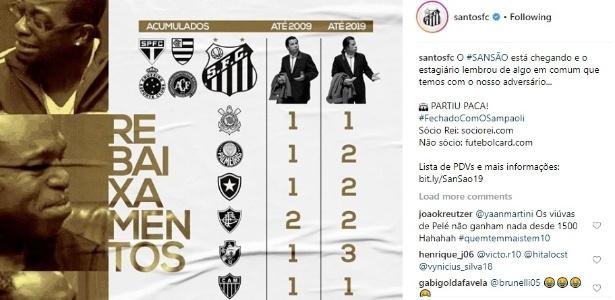 """O Santos """"lembrou"""" algo em comum com o São Paulo: nunca foram rebaixados  - Reprodução/Instagram Santos"""