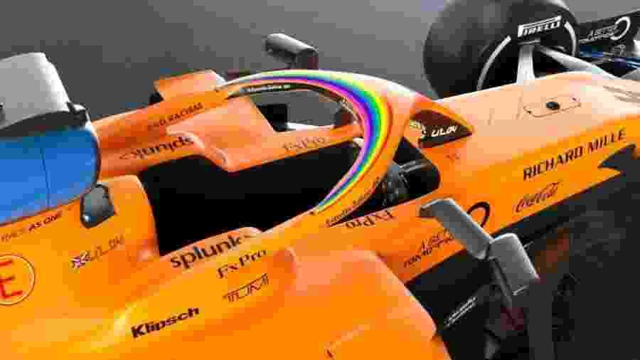Com laranja predominante, McLaren traz arco-íris e mensagem contra racismo em seus carros - Reprodução/Twitter