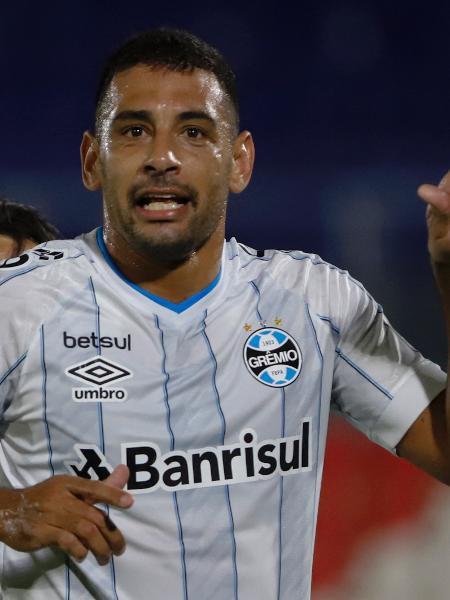 Diego Souza comemora gol do Grêmio contra o Independiente Del Valle, pela Libertadores - Divulgação
