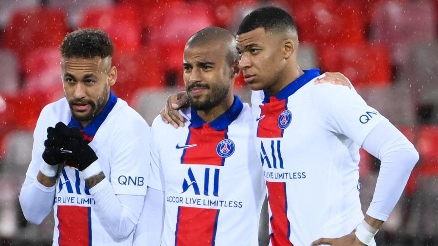 Neymar, Rafilha e Mbappé em jogo entre PSG e Brest, pelo Campeonato Francês - FRANCK FIFE / AFP