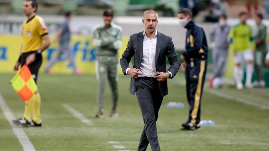 Técnico Sylvinho durante o jogo Palmeiras x Corinthians - Agência Corinthians