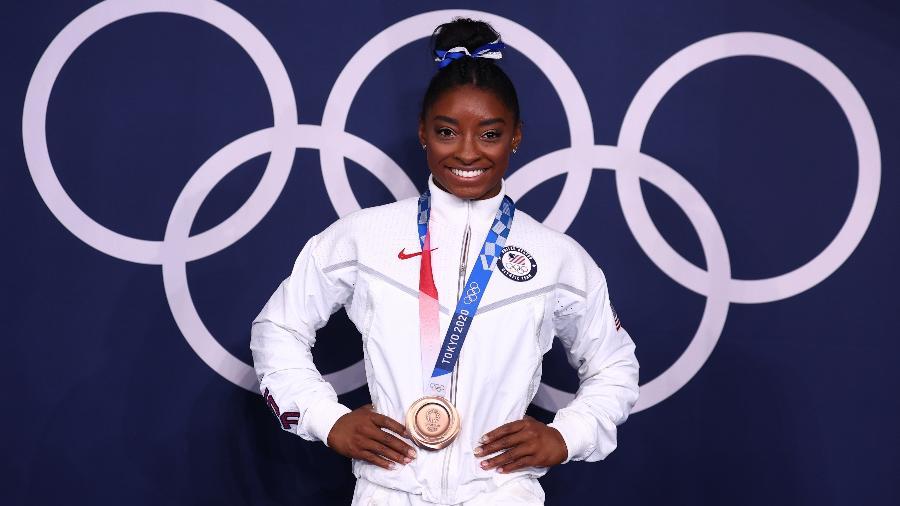 Simone Biles ficou com o bronze na disputa da trave nos Jogos Olímpicos de Tóquio  - MIKE BLAKE/REUTERS