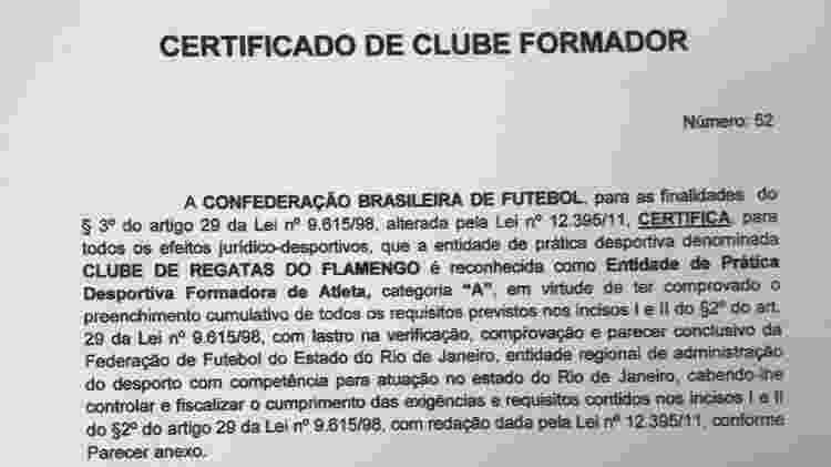 Certificado de clube formador emitido pela CBF ao Flamengo, em abril de 2017 - Reprodução
