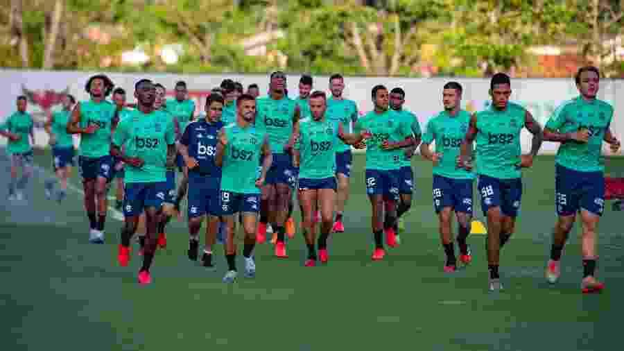 Elenco do Flamengo durante treinamento no Ninho do Urubu - Alexandre Vidal / Flamengo