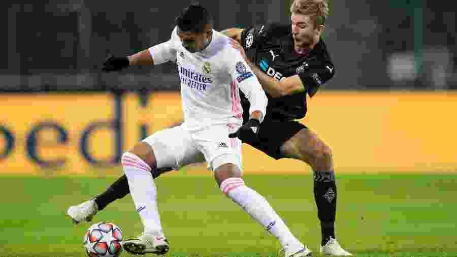 Casemiro durante a partida entre Real e Mönchengladbach - Borussia Moenchengladbach via Ge