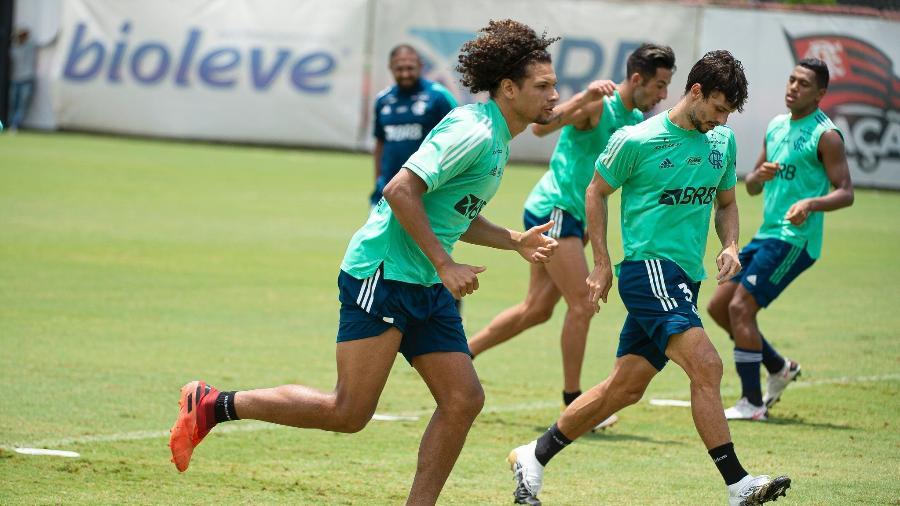 Willian Arão durante treino do Flamengo  - Alexandre Vidal / Flamengo