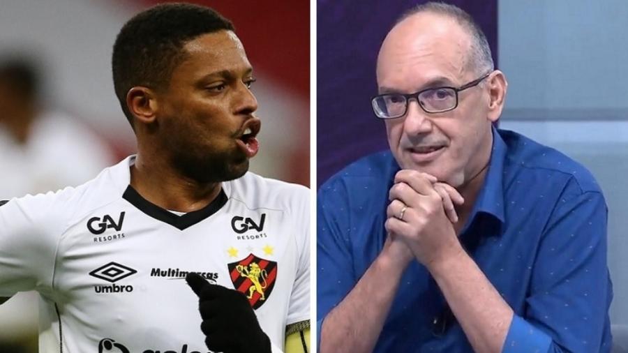 Atacante não gostou de ser chamado pelo apelido por comentarista do SporTV durante Sport x Inter - Diego Vara/Reuters - Reprodução/SporTV - Montagem UOL