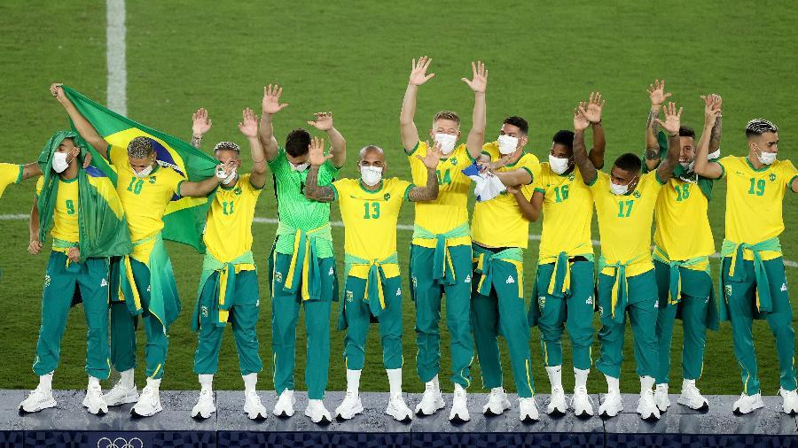 Seleção brasileira de futebol conquista o ouro na final contra a Espanha nos Jogos Olímpicos de Tóquio - Clive Mason/Getty Images