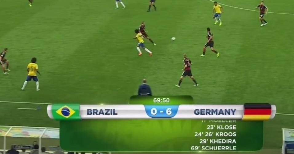 A vantagem foi tão grande que não coube no placar oficial. Como mostra a imagem, a animação gerada pela Fifa teve de usar a barra da rolagem para exibir todos os gols marcados pela Alemanha.