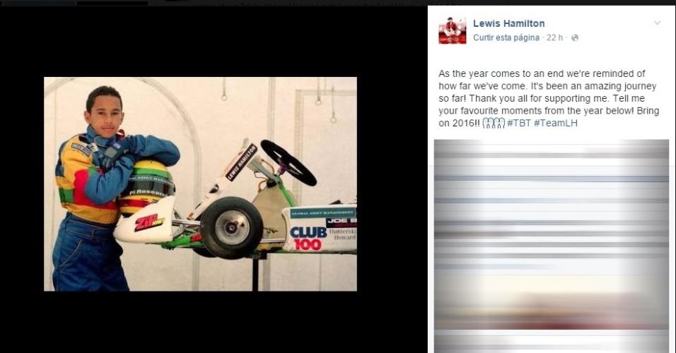 Lewis Hamilton publicou uma foto da infância e convidou fãs a relembrar momentos de 2015