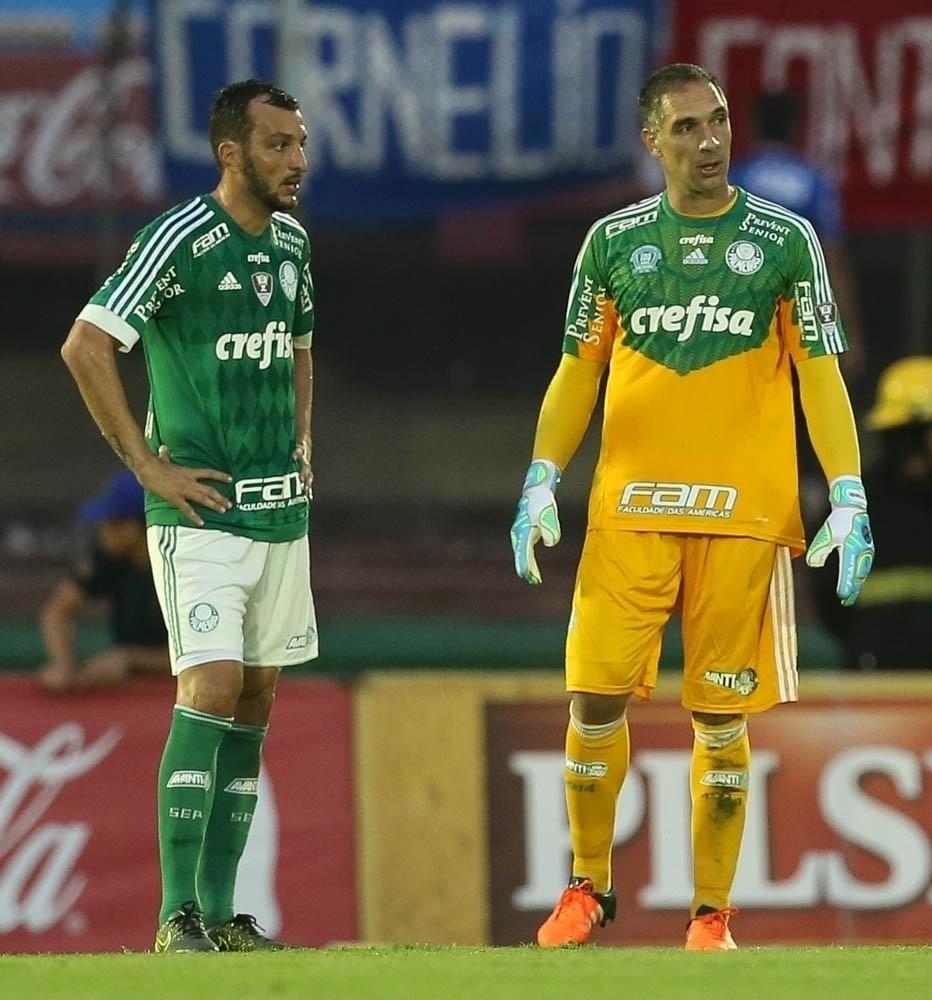 Edu Dracena e Fernando Prass atuaram como titulares no jogo entre Palmeiras e Libertad