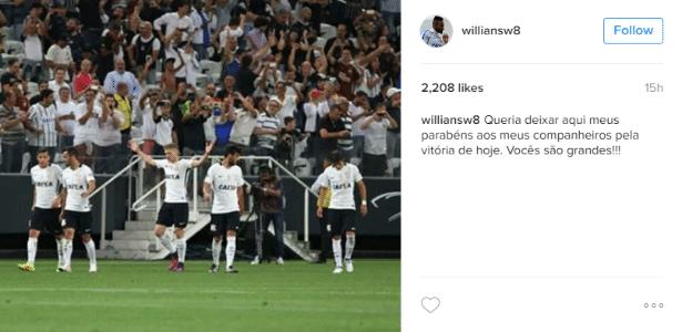 Williams comemora vitória do Corinthians nas redes sociais