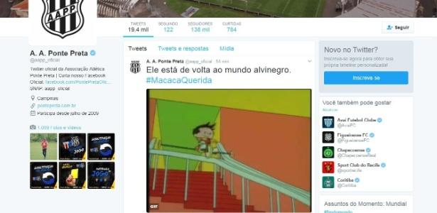 """Anúncio no Twitter oficial da Ponte usou GIF de desenho """"O Fantástico Mundo de Bob"""""""