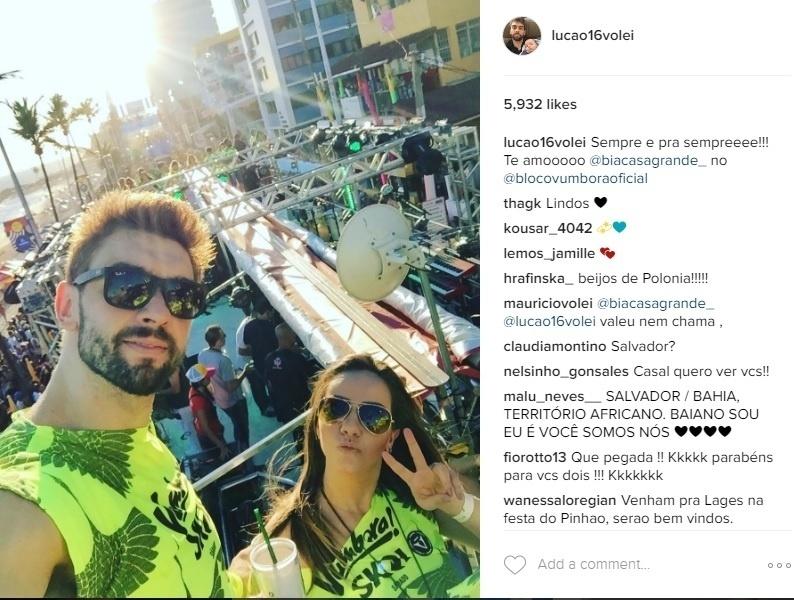 Lucão, do vôlei, também curte o Carnaval de Salvador