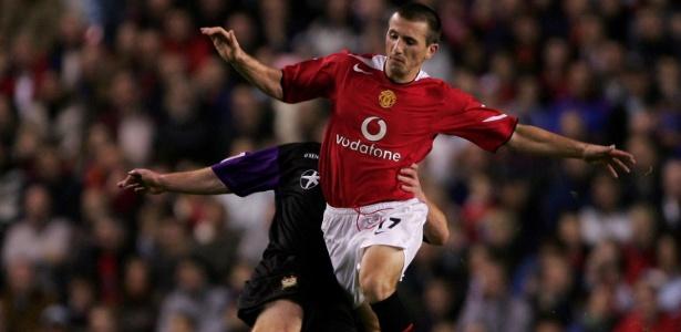 Liam Miller em ação pelo Manchester United em jogo contra o Barnet em 2005