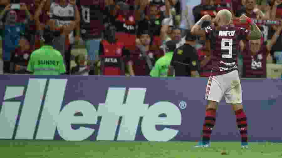 Gabigol comemora gol do Flamengo contra o Santos - Alexandre Vidal / Flamengo