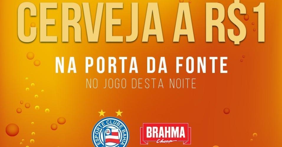 Ação do Bahia que venderá cerveja a R$ 1 na porta da Fonte Nova