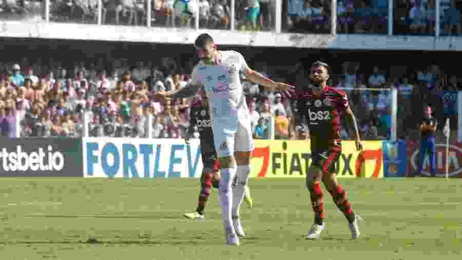 Gustavo Henrique durante jogo entre Santos e Flamengo - Fernanda Luz/AGIF