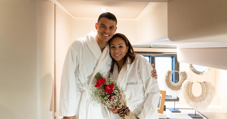 Thiago Silva e esposa