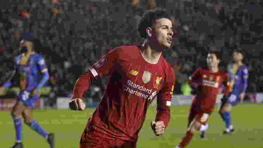 Curtis Jones comemora gol do Liverpool pela Copa da Inglaterra  - Reuters/Carl Recine