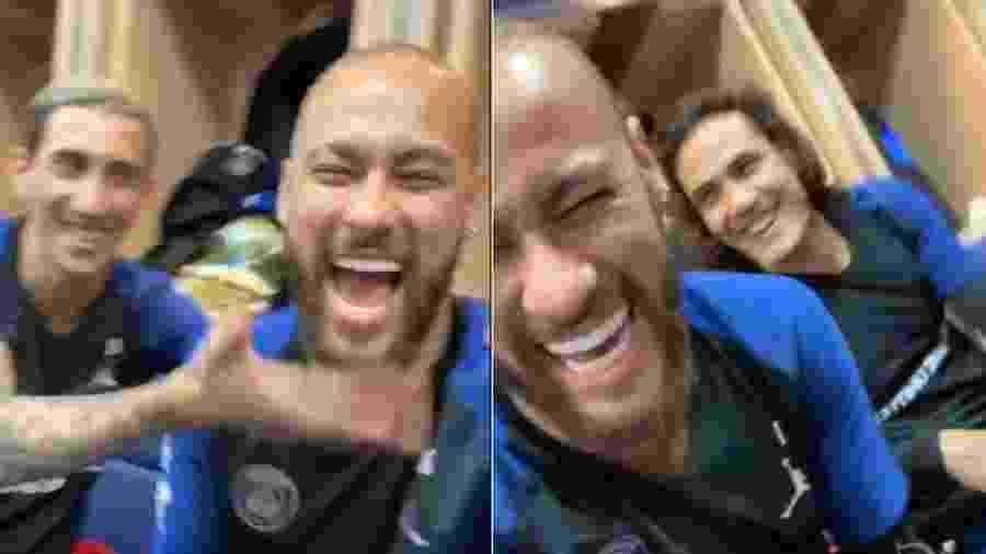 Neymar com os companheiros de PSG Di María e Cavani - Reprodução/Instagram