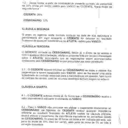 Trecho do suposto contrato de cessão dos 10% dos direitos econômicos de Marrony - Divulgação - Divulgação
