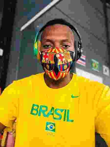 Maicon Andrade, medalhista de bronze nos Jogos Olímpicos do Rio de Janeiro no taekwondo, de máscara antes de treinamento - Arquivo pessoal