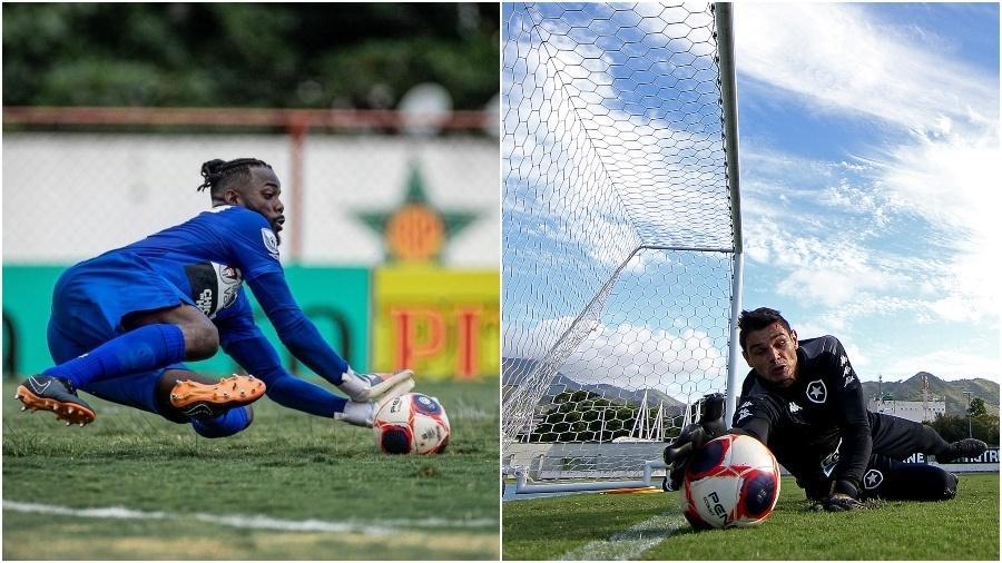 Andrey, goleiro do Volta Redonda, e Douglas Borges, goleiro do Botafogo - Fotos de André Moreira/VRFC e Vitor Silva/Botafogo