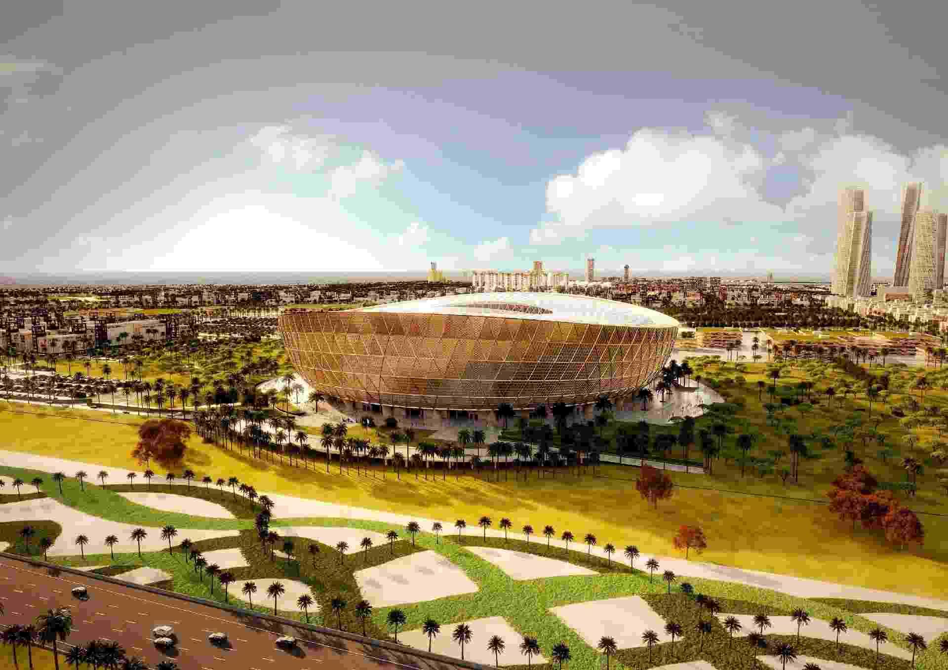 O estádio Icônico de Lusail, palco da final da Copa de 2022, com capacidade para 80 mil pessoas, está sendo construído junto com uma nova cidade inteira, a 20 km de Doha. - Divulgação/Fifa