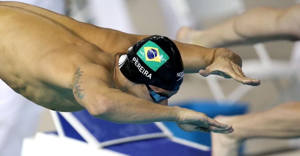 Thiago Pereira pula na água para bateria eliminatória dos 200m peito no Pan de Toronto