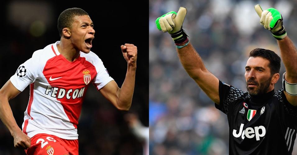 Mbappe, do Monaco, e Buffon, da Juventus