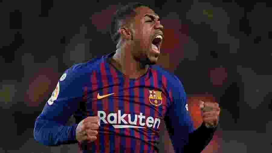 Malcom comemora após marcar o gol de empate do Barcelona contra o Real Madrid - Lluis Gene/AFP