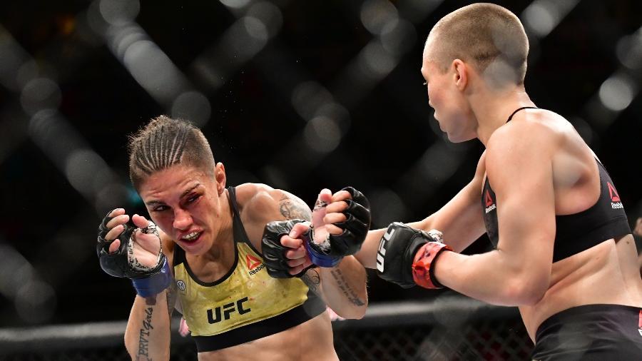 Jessica venceu Rose Namajunas com sua especialidade: o golpe bate-estaca - Leandro Bernardes/Ag. Fight