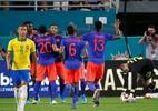 Muriel se torna primeiro colombiano a fazer dois gols na seleção brasileira - RHONA WISE / AFP