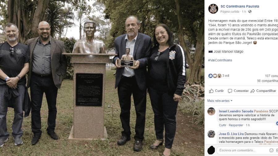 Corinthians inaugurou busto em homenagem ao histórico jogador Teleco - Reprodução/Facebook oficial do Corinthians