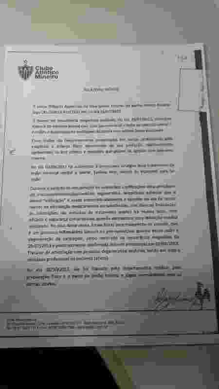 Laudo médico do Atlético-MG sobre Gilberto Silva - Divulgação
