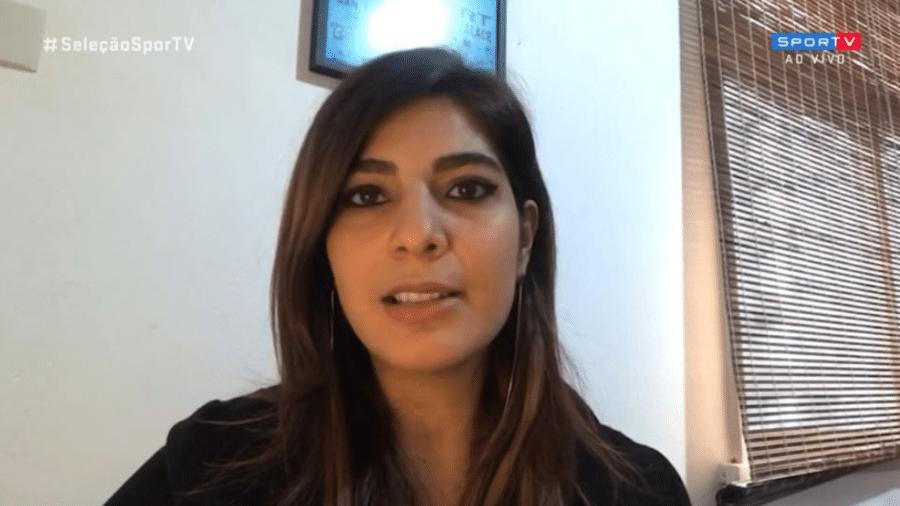 Andréia Sadi participa de programa do SporTV para brincar com namorado André Rizek - Reprodução