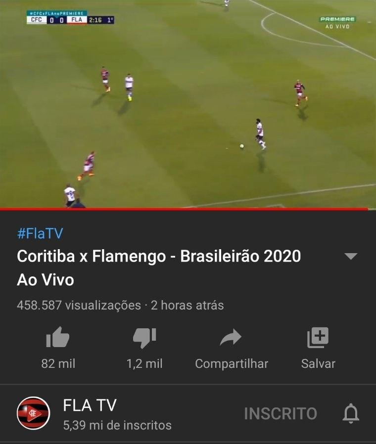 FlaTV exibe Coritiba x Flamengo com imagens do Premiere