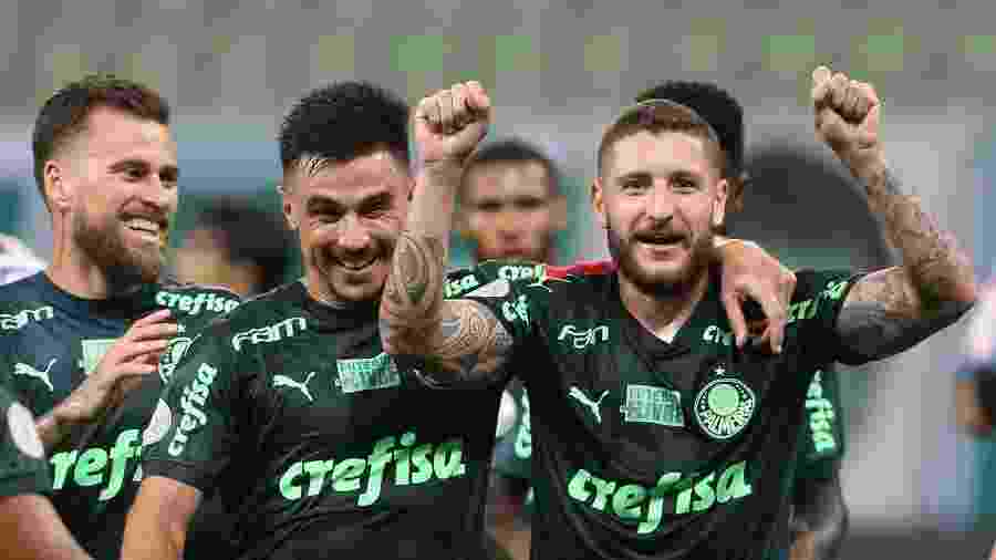 Willian e Zé Rafael comemoram gol do Palmeiras no Allianz Parque - Cesar Greco