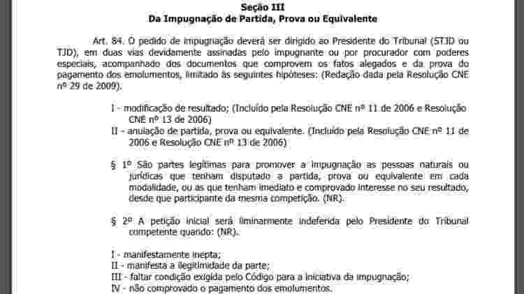 Trecho da regra sobre erro de direito no futebol, alegação do São Paulo contra o Ceará - Reprodução - Reprodução
