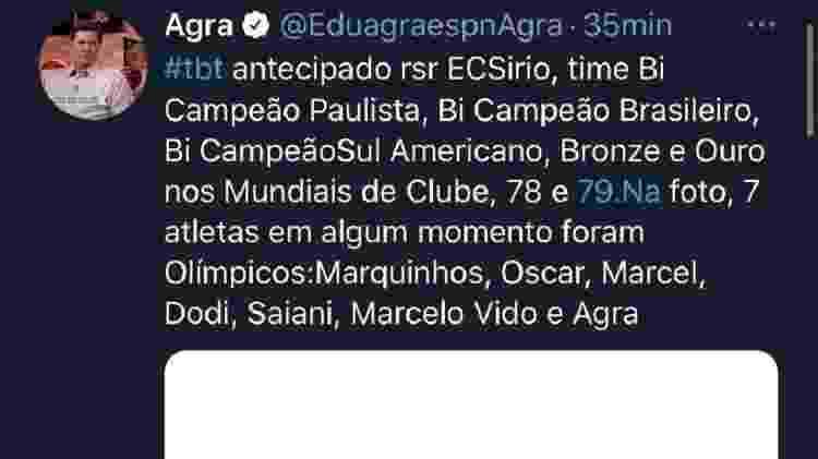 """Eduardo Agra postou """"tbt antecipado"""" de time do EC Sírio - Reprodução/Twitter - Reprodução/Twitter"""