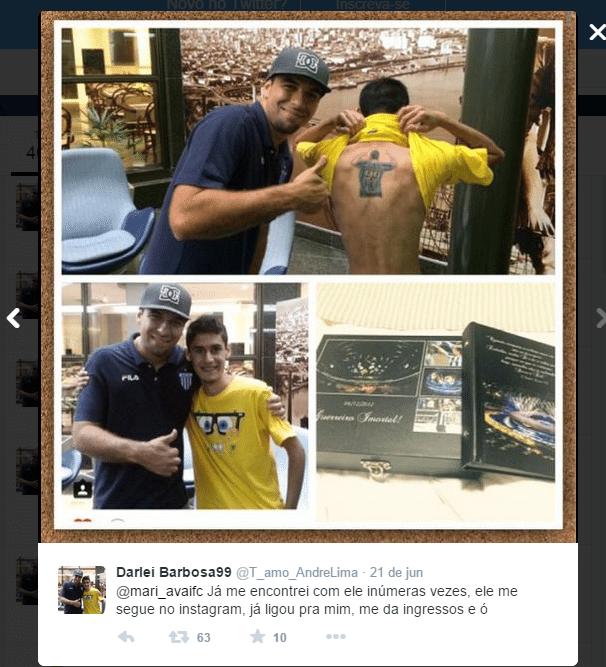 Foto divulgada por ele no encontro com o centroavante do Avaí