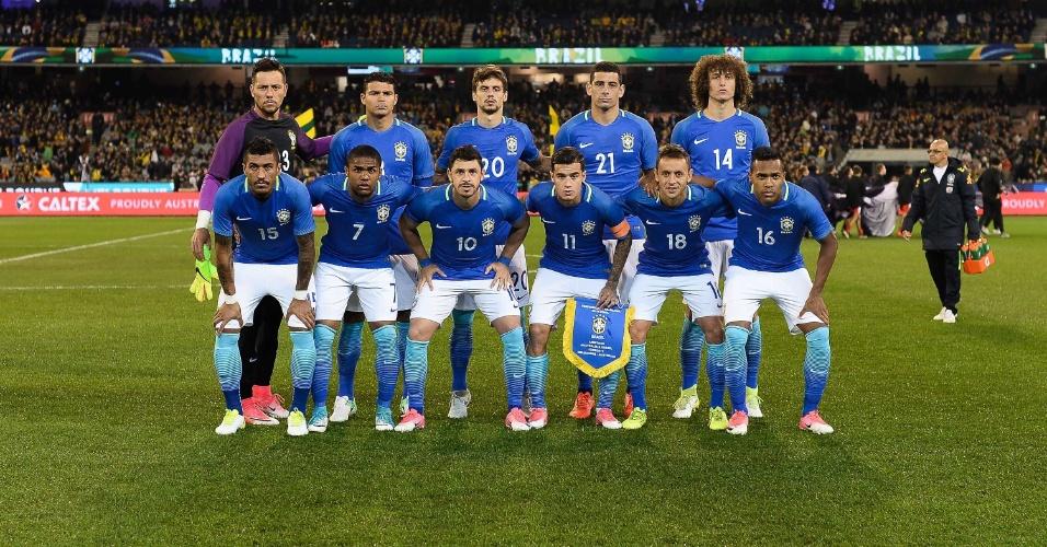 Seleção brasileira antes de amistoso contra a Austrália
