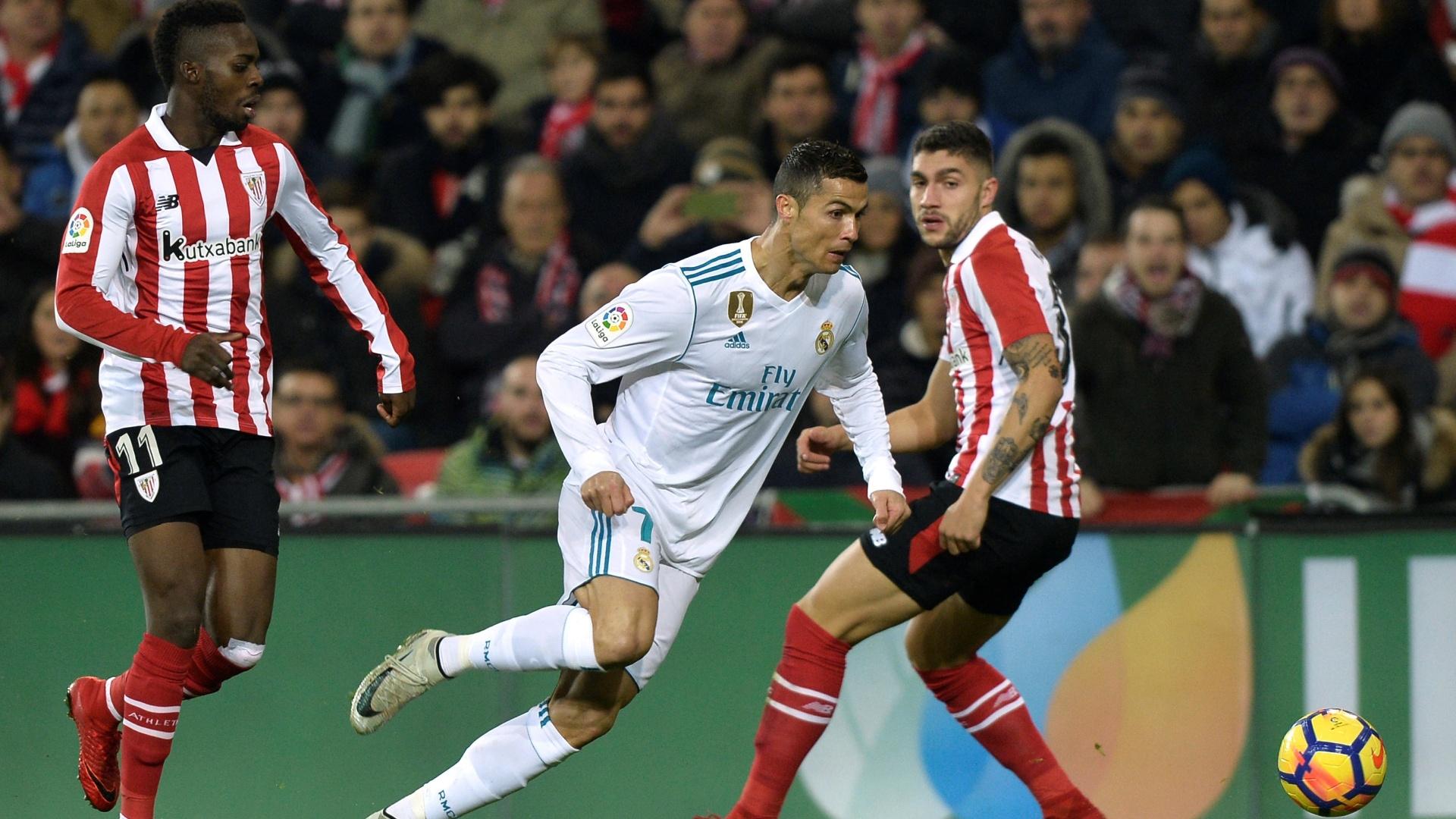 Cristiano Ronaldo, durante duelo entre Real Madrid e Athletic Bilbao