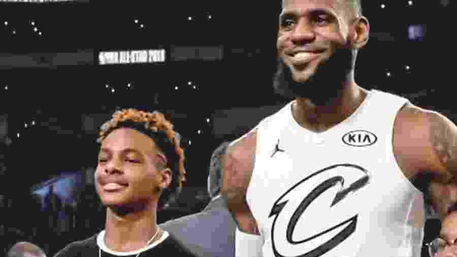 LeBron James com o filho LeBron James Jr - Reprodução