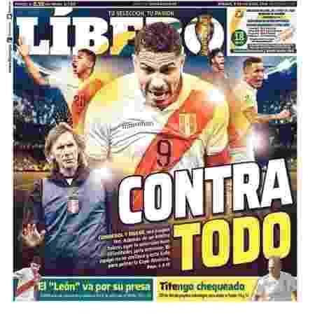 Capa do jornal peruano Líbero estampa revolta com problemas durante treino - Reprodução