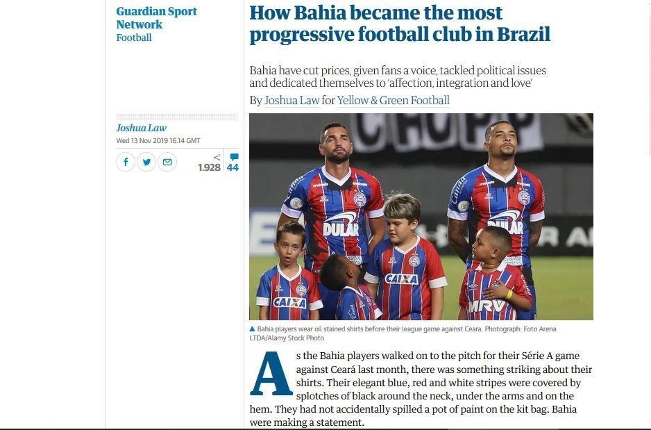 The Guardian, jornal inglês, cita Bahia como o clube mais progressista do Brasil