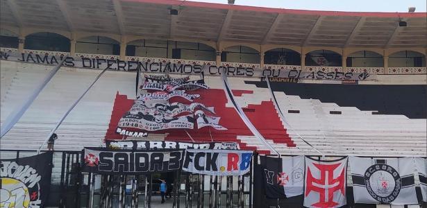 Torcida do Vasco coloca faixa contra Red Bull: protesto ao clube-empresa