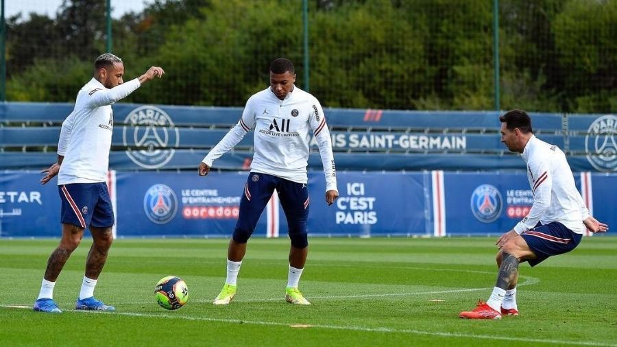 Neymar, Mbappé e Messi treinam juntos para jogo contra o Reims - Reprodução/Instagram