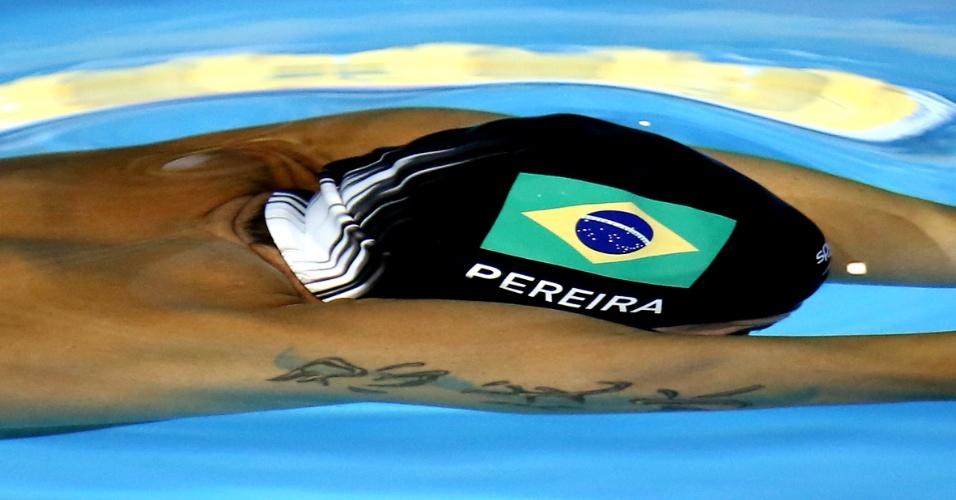 Toca de Thiago Pereira contém seu sobrenome e a bandeira do Brasil